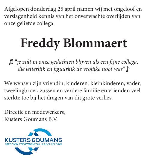 Freddy Blommaert overleden